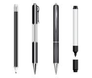 Insieme delle penne, della matita e dell'indicatore neri Fotografie Stock Libere da Diritti