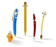 Insieme delle penne e della matita divertenti del fumetto Fotografia Stock