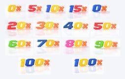 Insieme delle percentuali di sconti di immagini Fotografia Stock