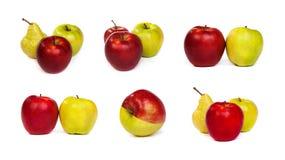 Insieme delle pere e delle mele verdi rosse e del mela su bianco Fotografia Stock Libera da Diritti