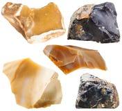 Insieme delle pietre della roccia del silice isolate su bianco Fotografia Stock Libera da Diritti