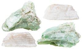 Insieme delle pietre minerali del talco isolate Fotografie Stock Libere da Diritti