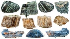 Insieme delle pietre minerali del vario amianto isolate immagine stock libera da diritti