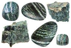Insieme delle pietre preziose del crisotilo isolate Fotografia Stock