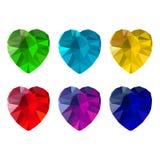 Insieme delle pietre preziose in forma di cuore Fotografia Stock Libera da Diritti