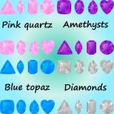 Insieme delle pietre preziose: quarzo rosa, ametysts, topazio blu, diamanti Immagine Stock
