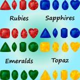 Insieme delle pietre preziose: rubini, zaffiri, smeraldi, topazio Immagini Stock