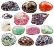 Insieme delle pietre preziose ruzzolate minerali naturali isolate Fotografia Stock