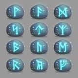 Insieme delle pietre runiche magiche per progettazione del gioco illustrazione di stock