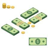 Insieme delle pile di soldi Banconote e monete Elementi isometrici per la vostra progettazione Fotografia Stock