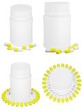 Insieme delle pillole della capsula e della bottiglia di plastica bianca. Immagini Stock