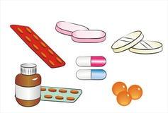 Insieme delle pillole isolate, droga, ridurre in pani Fotografia Stock