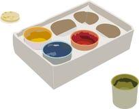Insieme delle pitture di gouache in una scatola Fotografie Stock Libere da Diritti