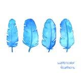 Insieme delle piume disegnate a mano blu dell'acquerello Illustrazione di Stock