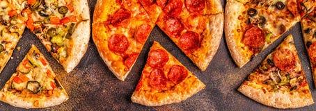 Insieme delle pizze differenti fotografia stock