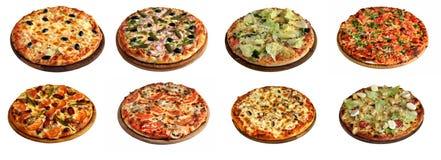 Insieme delle pizze differenti isolate su bianco immagini stock libere da diritti