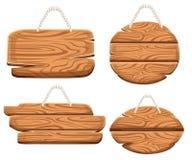 Insieme delle placche di legno sulla corda nello stile del fumetto Collezioni di legno del bordo del segno Vecchie plance della s illustrazione di stock