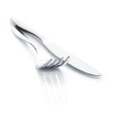 Insieme delle posate o dell'argenteria della forcella e del coltello Fotografia Stock