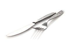 Insieme delle posate o dell'argenteria della forcella e del coltello Fotografie Stock