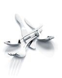 Insieme delle posate o dell'argenteria della forchetta, dei cucchiai e del coltello Immagini Stock Libere da Diritti