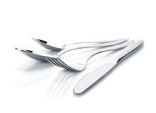 Insieme delle posate o dell'argenteria della forchetta, dei cucchiai e del coltello Fotografie Stock