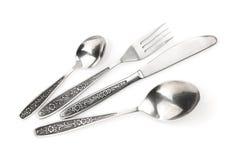 Insieme delle posate o dell'argenteria della forchetta, dei cucchiai e del coltello Immagine Stock