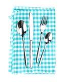 Insieme delle posate o dell'argenteria della forchetta, dei cucchiai e del coltello sopra kitche Immagine Stock Libera da Diritti