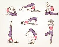 Insieme delle pose dei pilates e di yoga Immagini Stock