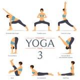 Insieme delle pose di yoga nella progettazione piana Infographics di yoga Vettore illustrazione vettoriale
