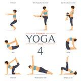 Insieme delle pose di yoga nella progettazione piana Vettore royalty illustrazione gratis