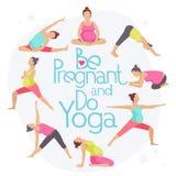 Insieme delle pose di yoga per le donne incinte illustrazione vettoriale