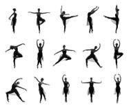 Insieme delle pose differenti di balletto. Tracce in bianco e nero Fotografie Stock Libere da Diritti