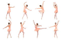 Insieme delle pose differenti di balletto. Tracce in bianco e nero Fotografia Stock Libera da Diritti