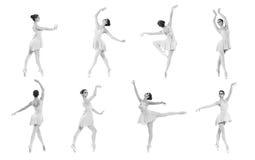 Insieme delle pose differenti di balletto. Tracce in bianco e nero Fotografia Stock