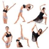 Insieme delle pose relative alla ginnastica della donna isolato su fondo bianco Immagine Stock Libera da Diritti