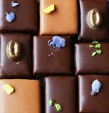 Insieme delle praline assortite del cioccolato di lusso Fotografie Stock