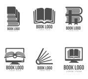 Insieme delle progettazioni in bianco e nero di logo del libro Immagine Stock Libera da Diritti