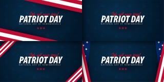 Insieme delle promozioni di giorno del patriota, pubblicità, manifesti, insegne, modelli con la bandiera americana Carte da parat royalty illustrazione gratis
