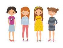 Insieme delle ragazze alla moda del fumetto Immagini Stock