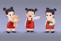 Insieme delle ragazze realistiche 3D con differenti emozioni e pose Fotografie Stock Libere da Diritti