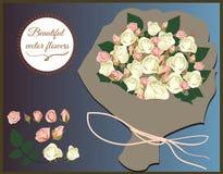 Insieme delle rose di vettore Bei fiori in un mazzo per le congratulazioni illustrazione di stock