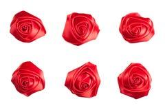Insieme delle rose fatte del nastro di seta Immagine Stock
