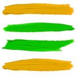Insieme delle sbavature della pittura di VETTORE Colori gialli e verdi illustrazione di stock