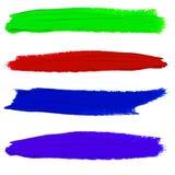 Insieme delle sbavature della pittura di VETTORE Colori porpora, verdi, rossi ed arancio Fotografia Stock