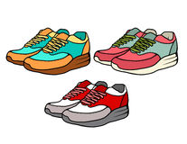 Insieme delle scarpe da tennis variopinte di scarabocchio Immagini Stock