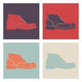 Insieme delle scarpe dei retro uomini Fotografie Stock Libere da Diritti