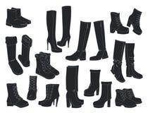 Insieme delle scarpe delle donne Immagini Stock