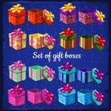 Insieme delle scatole per i regali Fotografie Stock