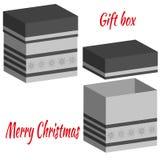 Insieme delle scatole realistiche con il coperchio per i regali su fondo bianco illustrazione 3d per progettazione per il Natale  royalty illustrazione gratis