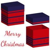Insieme delle scatole realistiche con il coperchio per i regali su fondo bianco illustrazione 3d per progettazione per il Natale  illustrazione vettoriale